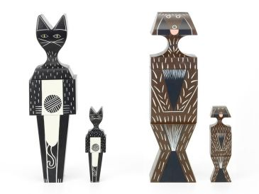 Vitra Girard Wooden Dog and Cat Dolls-Black Editions