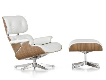 Vitra Eames Lounge Chair & Ottoman - White Pigmented Walnut