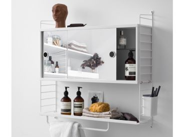 String Shelving Mirrored Bathroom Cabinet